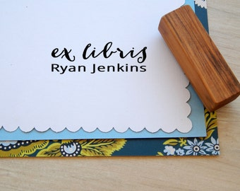 Nothing More Nothing Less Ex Libris Custom Stamp on Olive Wood
