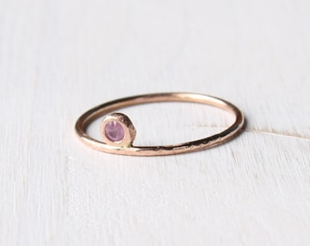 Ruby gold ring, solid rose gold ruby ring, thin ruby ring, gypsy setting ruby ring, solitaire ring