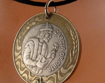 PORTUGAL  NECKLACE . portuguese coin pendant jewelry. escudos. republica portuguesa. Garcia de Orta  No.001081