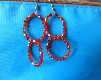 Two red circles earrings