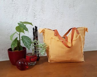 Yellow orange linen /anses leather tote bag