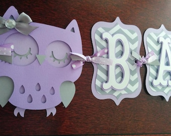 Owl Baby Shower Banner, It's A Girl banner, Baby Banner, Baby Shower Decorations, Purple and Gray banner, Owl Decorations. Lavender