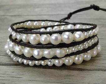 Leather pearl bracelet freshwater pearl bracelet boho wrap bracelet pearl wrap bracelet bead wrap bracelet pearl stacking bracelet SL-0441