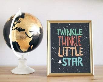 Baby Boy Nusery Decor Art Print Twinkle Star Design - Twinkle Twinkle Little Star - 8x10 or 11x14