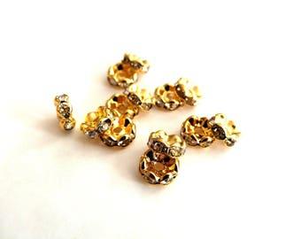 """20 """"spacer"""" spacers beads, metal and Crystal 8 mm rhinestones."""