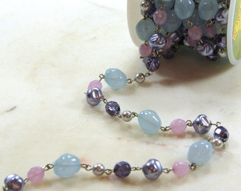 Beadlinx Bead Chain, Purple on Silver Plate Chain, Purple, Violet, Blue, Pearl, Necklace And Bracelet Findings, Sold Buy By The Foot