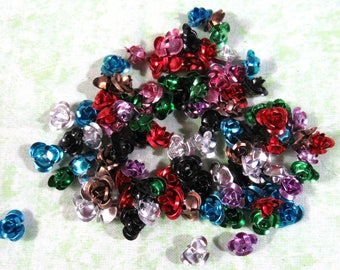Assorted Color 10MM Aluminum Flower Beads (B404a)