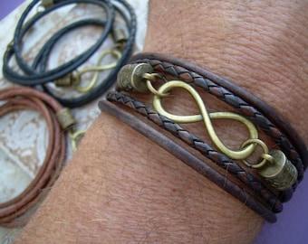 Triple Wrap Infinity Leather Bracelet with Antique Bronze Hardware, Infinity Bracelet, Infinity, Mens Bracelet, Womens Bracelet,