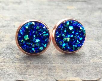 Rose Gold Druzy earrings, Stud Druzy earrings, drusy,  rose gold, rose gold druzy,  Boho