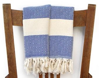 Guest Towel Face Towel Kitchen Hand Towel Cotton Turkish Towel Handwoven Cotton Bathroom Towel Tea Towel Spa Towel DIAMOND BLUE PESHKIR Set