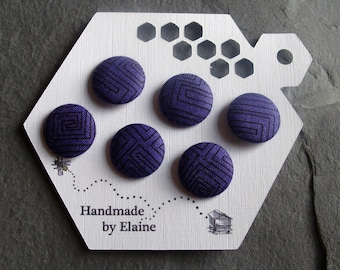 Fabric Covered Buttons - 6 x 19mm Buttons, Handmade Button, Emperor Amethyst Violet Purple Black Geometric Retro Mid-Century Buttons, 2519