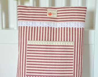 Tote Bag.Red and White Stripes,Cotton Fabric,Shopper Bag.Daily Bag.