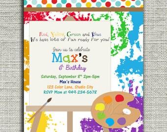 Art Party Invitation, Arts and Crafts Birthday Invitation, Boy Art Party Invitation, Painting Birthday Invitations, Art Birthday Invitation