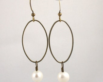 Pearl and Brass Hoop Earrings