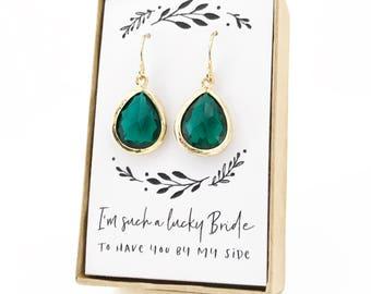 Emerald Gold Teardrop Earrings, Gold Earrings, Teardrop Earrings, Emerald Gold Earrings, Emerald Bridesmaid Earrings, Green Emerald Jewelry