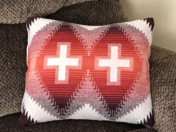 Wool Pillow Cover / Accent Pillow Cover 18 x 16 Burnt Sienna Red & Brown