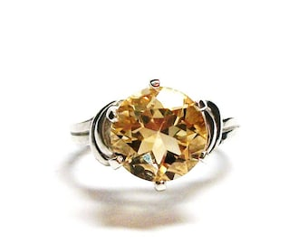 """Citrine, citrine ring, birthstone ring,  banded yellow ring, solitaire ring, s 6 3/4  """"Yellow Belly"""""""