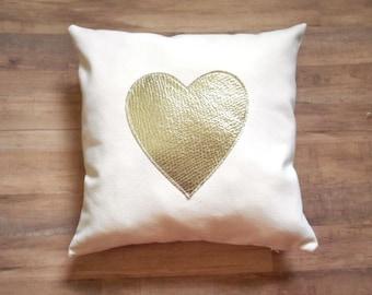Heart Pillow Cover, Silver Metallic, Home Decor, Pillow case, Gift for Her, Decorative Throw Cushion