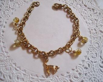 Kitty Cat Bracelet (26) - Kitty Charm Bracelet - Repurposed Jewelry - Cat Jewelry - Charm bracelet - gold charm bracelet