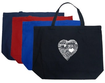 Large Tote Bag - Created using the word Love in 44 Different Languages
