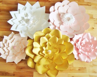 Set of 5 Large Paper Flowers - Paper Flower Wall | Paper Flower Backdrop | Paper Flowers | Wedding Flowers | Baby Nursery Decor