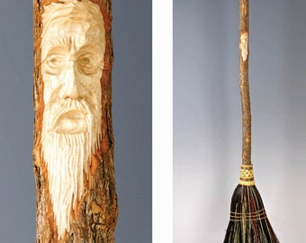 Carved Kitchen Broom in your choice of Natural, Black, Rust or Mixed Broomcorn - Hand Carved Tree Spirit - Wizard Carving