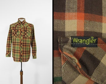 Vintage Wrangler Plaid Shirt Brown Pearl Snaps Long Sleeve Made in USA - Size Large