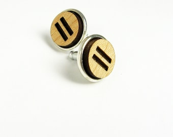Equality Jewelry - Engraved Earrings with Equals Signs or Symbols - Wood Jewelry for Math Teacher
