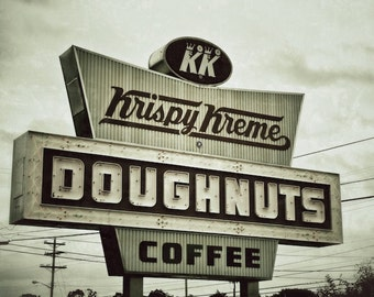 Doughnuts and Coffee Sign, Industrial Kitchen Art, Vintage Krispy Kreme Sign