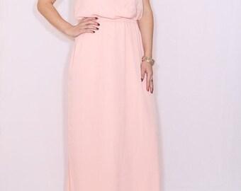 SALE Peach Bridesmaid dress Long dress Chiffon dress Prom dress Keyhole dress