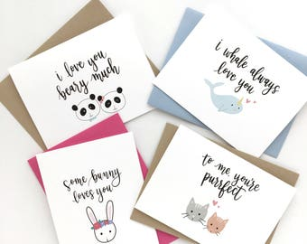 Set of 4 punny Valentine's Day calligraphy cards (Mix and Match)