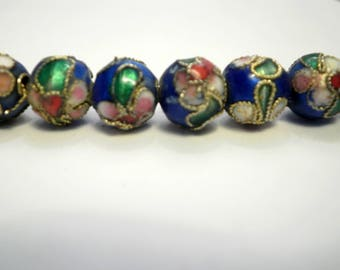 5 blue Asian cloisonne beads 8 mm