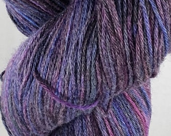Ready to ship, 100g, Snow Dyed Yarn, hand Dyed Yarn, Blue/Purple Variegated Yarn, Sock/Fingering Yarn, Cotton:Merino Yarn