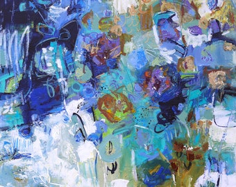"""ABSTRACT PAINTING 'It Is What It Is' ORIGINAL Art 30"""" x 30"""" canvas by Elizabeth Chapman"""