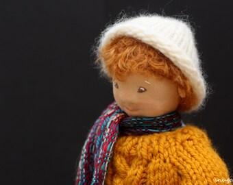 one of a kind cloth art doll, boy waldorf doll, waldorf doll, collector doll cloth doll ooak wool doll rag doll textile doll fabric doll