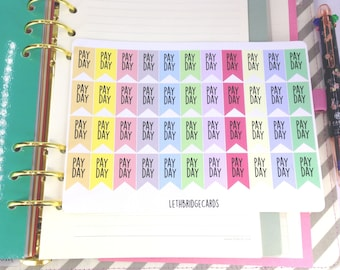 Pastel Pay Day Flag Planner Stickers; Colour Coding; Filofaxing; Erin Condren compatible; Kikki K; Bullet journal stickers; Finance stickers