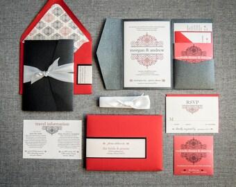 "Gothic Wedding Invitation, Black and Red Wedding Invitations, Elegant Wedding Invites, Formal Event - ""European Scroll"" PF-NL-v1 SAMPLE"