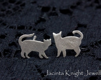 Sterling silver cat studs