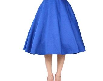 Audrey Hepburn Cobalt Blue Full Circle Skirt