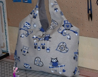 Fashion fabric decor owls or owls, red or blue bags