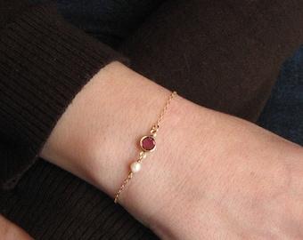 Amethyst Bracelet, Swarovski Crystal Necklace, 14k Gold Filled, February Birthstone, White Freshwater Pearl, June Birthstone, Gift Under 20
