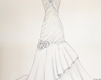 Custom wedding dress sketch, wedding gown bouquet and shoes, paper anniversary, wedding gift, anniversary gift, say yest to the dress