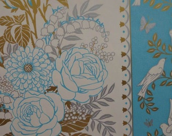 Vintage 1980 Wedding Gift Wrap Paper Tuquoise Floral & Gold 1 Sheet Wrapping Paper