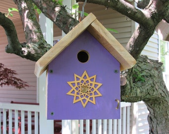 Little violet wren house with gold star and clear marble