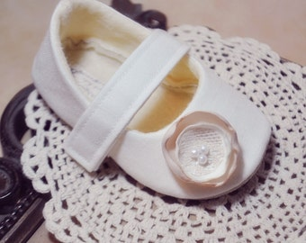 Baby Girl Shoes Toddler Girl Shoes Soft Soled Shoes Wedding Shoes Flower Girl Shoes Summer Shoes Cream Ivory Linen Shoes - Alexandra