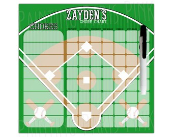 Baseball Diamond Personalized Dry Erase Chore Chart | Custom with 5-7 Days of the Week | Batter Up