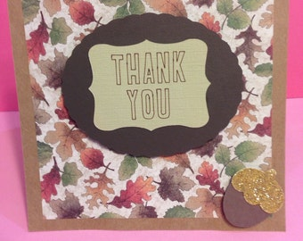 """Autumn Fall Leaves  5.5""""Square Thank You Greeting Card - Blank Inside- Thanksgiving"""