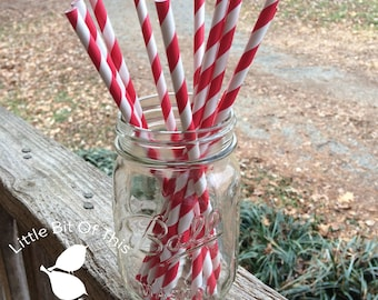 Paper Drinking Straws • 8 Inch • Parties • Disposable • Paper Straws • Assorted Color Stripe Straw • Drink Straws • You Pick Color + Qty