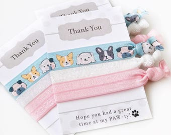 Dog Party Favors, Puppy Birthday Party Supplies, Goodie Bag Stuffers, Puppy Party Decorations, Puppy Baby Shower Favors Hair Ties