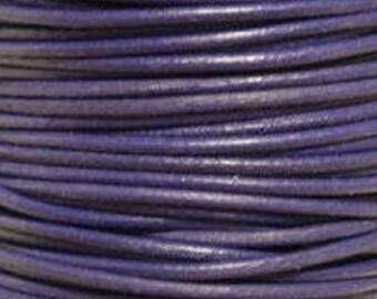 "2mm Round Violet Purple Leather Lace Cord - 2mm 3/32"" Diameter Craft Jewelry Bracelet Wrap Necklace - I ship Internationally"